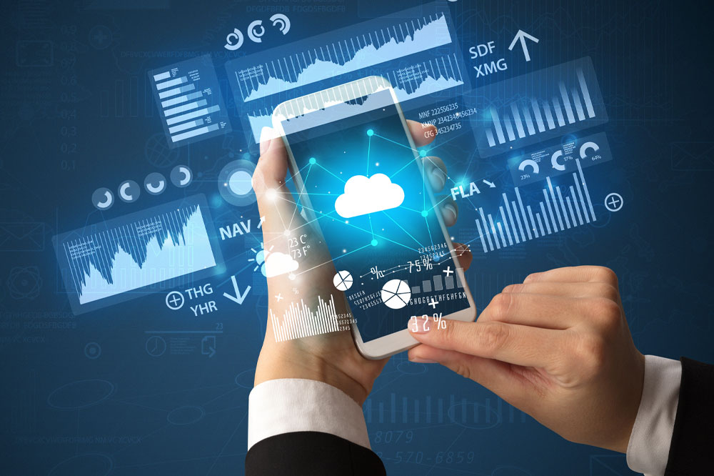 Person holding a phone with graphs and charts floating around it representing single device automation